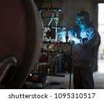 welding in the steel tube | Shutterstock . vector #1095310517