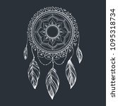 dreamcatcher with feathers and... | Shutterstock .eps vector #1095318734