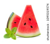 heap of sliced watermelons with ... | Shutterstock . vector #1095319574