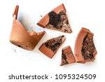 broken clay flower pot isolated ...   Shutterstock . vector #1095324509