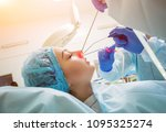 endoscopic sinus surgery. laser ...   Shutterstock . vector #1095325274