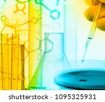 researcher with petri dish and... | Shutterstock . vector #1095325931