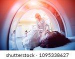 doctor and patient in the room... | Shutterstock . vector #1095338627