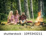 happy friends enjoying evening... | Shutterstock . vector #1095343211