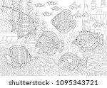underwater ocean world. shoal... | Shutterstock .eps vector #1095343721