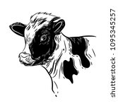vector image of a calf's head | Shutterstock .eps vector #1095345257
