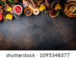assortment various barbecue... | Shutterstock . vector #1095348377