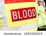 the word blood on a red... | Shutterstock . vector #1095352019