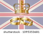 royal wedding  crown and... | Shutterstock .eps vector #1095353681