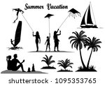 summer vacation set. people... | Shutterstock .eps vector #1095353765