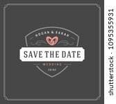 wedding save the date... | Shutterstock .eps vector #1095355931