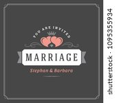 wedding save the date... | Shutterstock .eps vector #1095355934