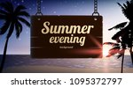 evening beach background with... | Shutterstock .eps vector #1095372797