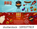 barbecue grill elements set... | Shutterstock .eps vector #1095377819