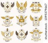 collection of vector heraldic... | Shutterstock .eps vector #1095379667