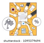 man signs bank mortgage...   Shutterstock .eps vector #1095379694