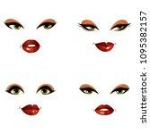 set of vector beautiful female... | Shutterstock .eps vector #1095382157