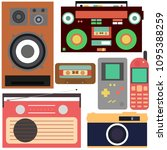 retro collection  mobile phone  ... | Shutterstock .eps vector #1095388259