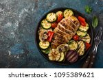grilled chicken breast and... | Shutterstock . vector #1095389621
