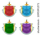 set of vector knight flag with...