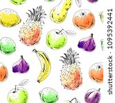hand drawn fruit seamless... | Shutterstock .eps vector #1095392441