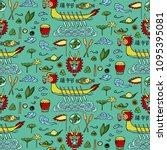 dragon boat festival doodle...   Shutterstock .eps vector #1095395081