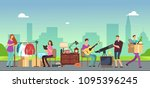people selling and shopping... | Shutterstock .eps vector #1095396245