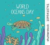 world oceans day. cute turtle... | Shutterstock .eps vector #1095410741