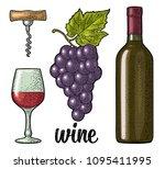 wine set with handwriting... | Shutterstock .eps vector #1095411995