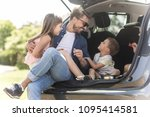 two adorable kids sitting in a... | Shutterstock . vector #1095414581