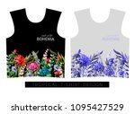 two print for t shirt with... | Shutterstock .eps vector #1095427529