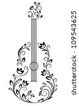 Guitar With Floral Details For...