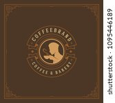 coffee shop label design... | Shutterstock .eps vector #1095446189