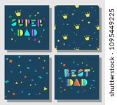 set of postcards and... | Shutterstock .eps vector #1095449225