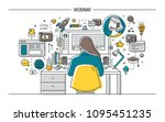 woman sitting at desk with... | Shutterstock .eps vector #1095451235
