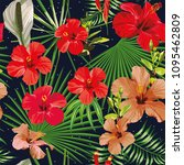 exotic tropical leaves and... | Shutterstock .eps vector #1095462809