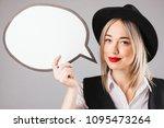 stylish blonde woman in black... | Shutterstock . vector #1095473264