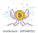 bitcoin with wings flat... | Shutterstock .eps vector #1095489221