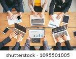 analyst corporate team meeting... | Shutterstock . vector #1095501005