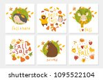 set of 6 cute ready to use gift ... | Shutterstock .eps vector #1095522104