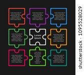 colorful puzzle nine pieces... | Shutterstock .eps vector #1095528029