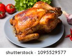 chicken baked whole. selective... | Shutterstock . vector #1095529577