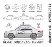 self driving white sedan car... | Shutterstock .eps vector #1095530711