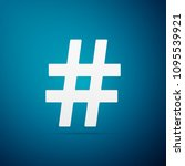 hashtag icon isolated on blue...