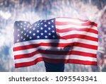 patriotic holiday. happy young... | Shutterstock . vector #1095543341