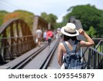 young woman traveling... | Shutterstock . vector #1095545879