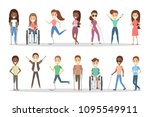 disabled people set. men and... | Shutterstock .eps vector #1095549911
