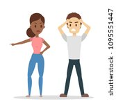 isolated angry couple. man and... | Shutterstock .eps vector #1095551447