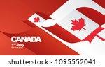 canada day flag ribbon... | Shutterstock .eps vector #1095552041