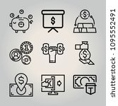 outline money 9 vector icons...